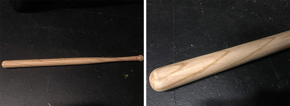 A wooden bat made by Allison Freels '23 (Theater Design & Technology)