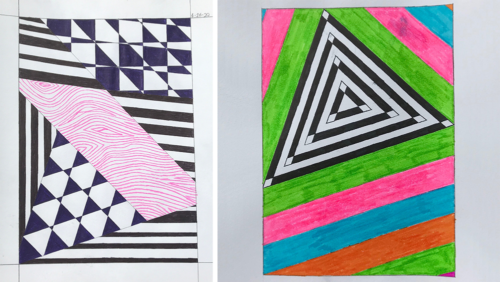 Two sketchbook drawings by Allison Freels '23 (Theater Design & Technology)
