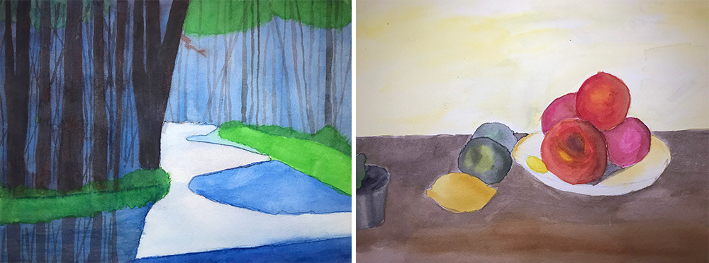 Two watercolor paintings by Allison Freels '23 (Theater Design & Technology)