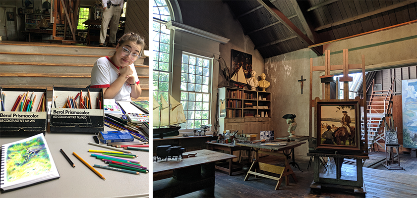 Julia Davis '20 at work, left. Inside the NC Wyeth Studio, right.