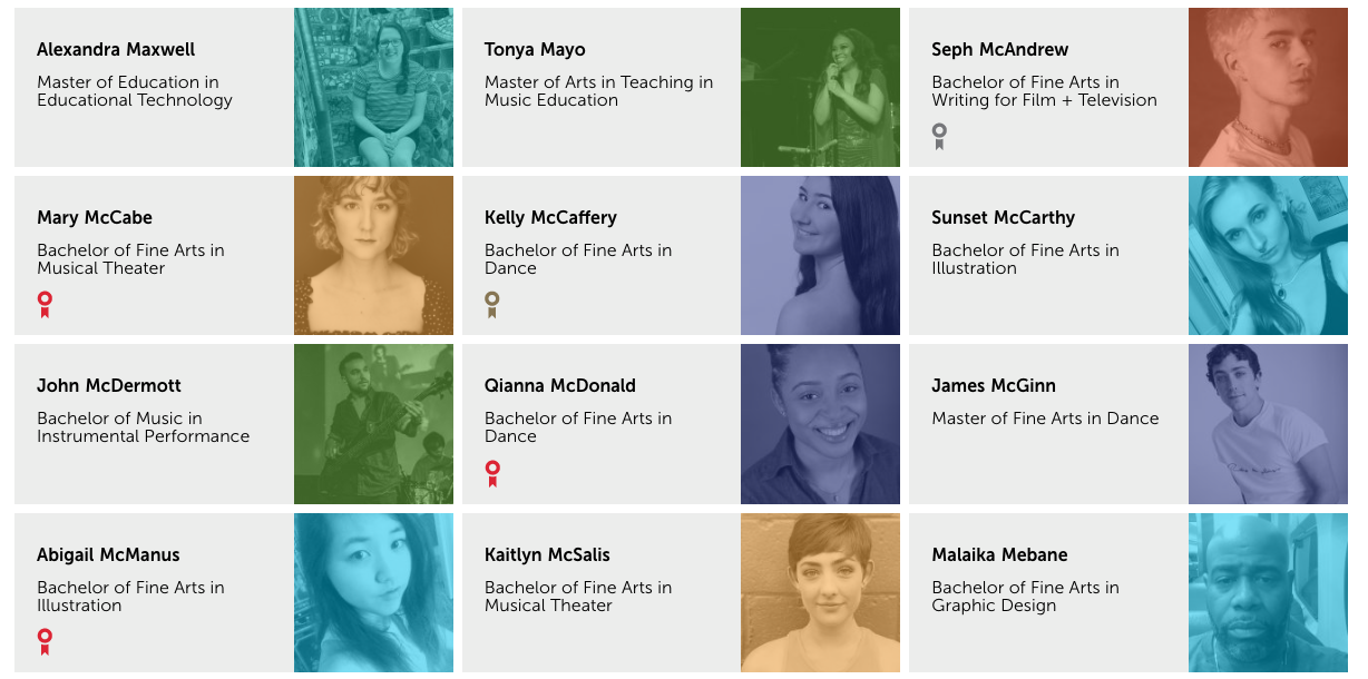 Grid of student profiles