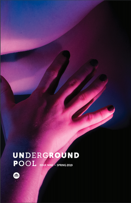 The cover of Underground Pool spring issue 2020. A hand in pink lighting touches a mirror.