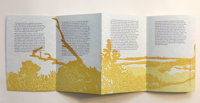 """four web"" is a book arts printed work by faculty member Sarah Nicholls. It is a folded piece of paper with a yellow print of nature-like scenery. Text is displayed above the print on each fold of the paper."