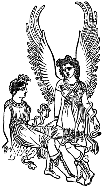 An illustration of an angel standing next to a person, both have a snake wrapped around their arm.