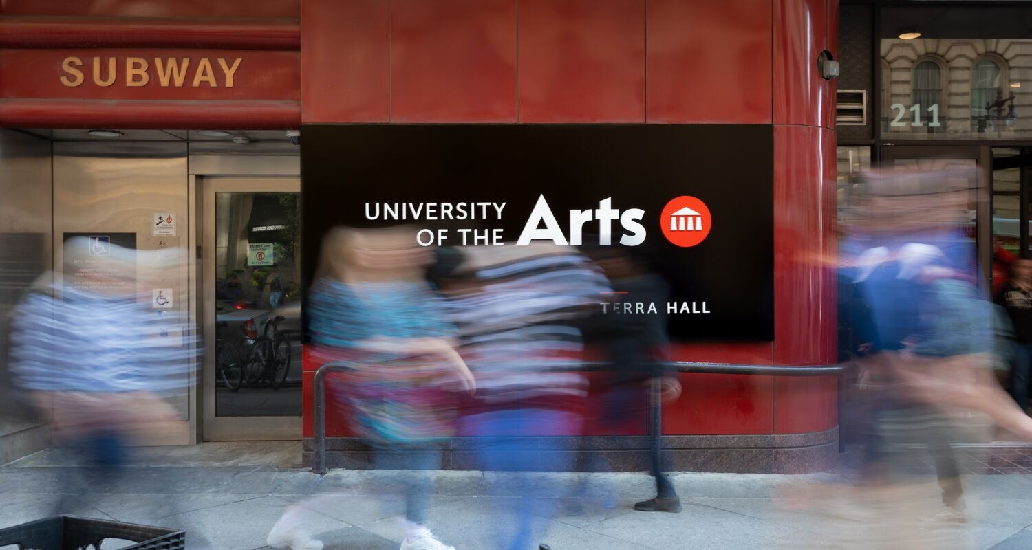 UArts Terra Hall with Students walking by in a blur