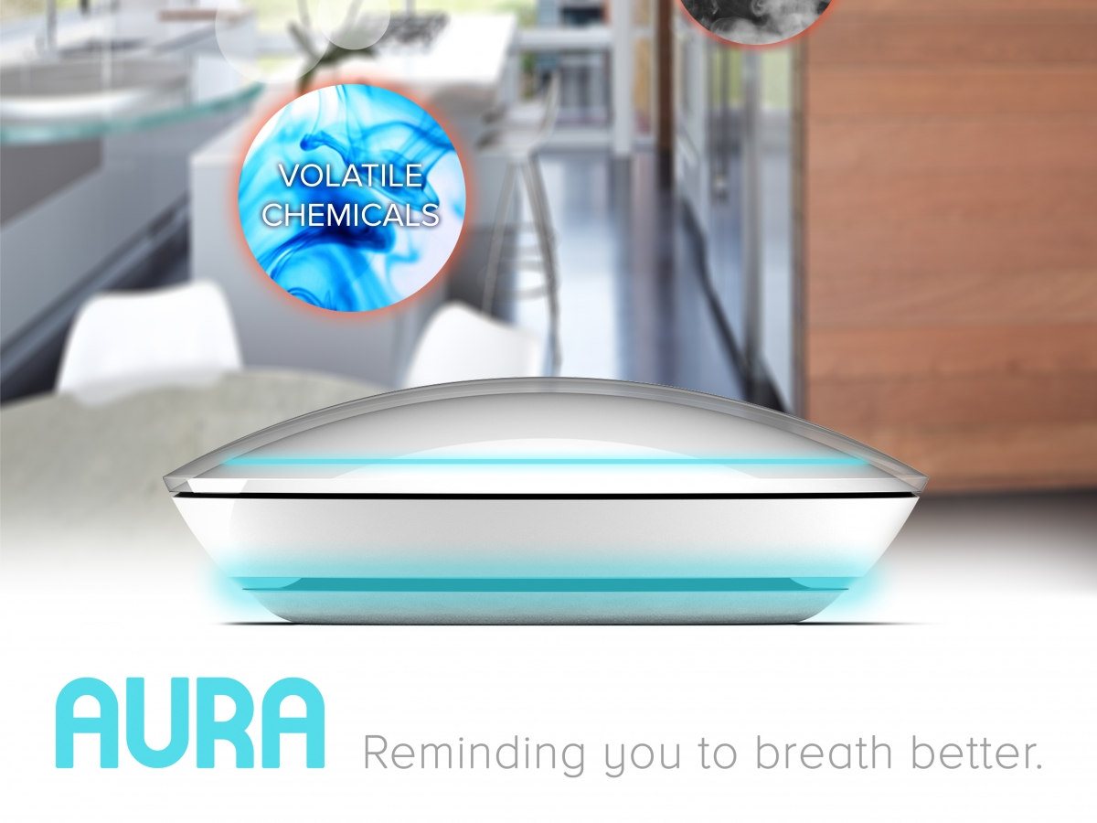 "a poster for an air quality sensor in front of a kitchen with the words ""AURA: Reminding you to breath better"" written over it in blue lettering"