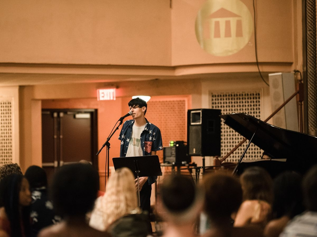 Students perform during Open Mic Night
