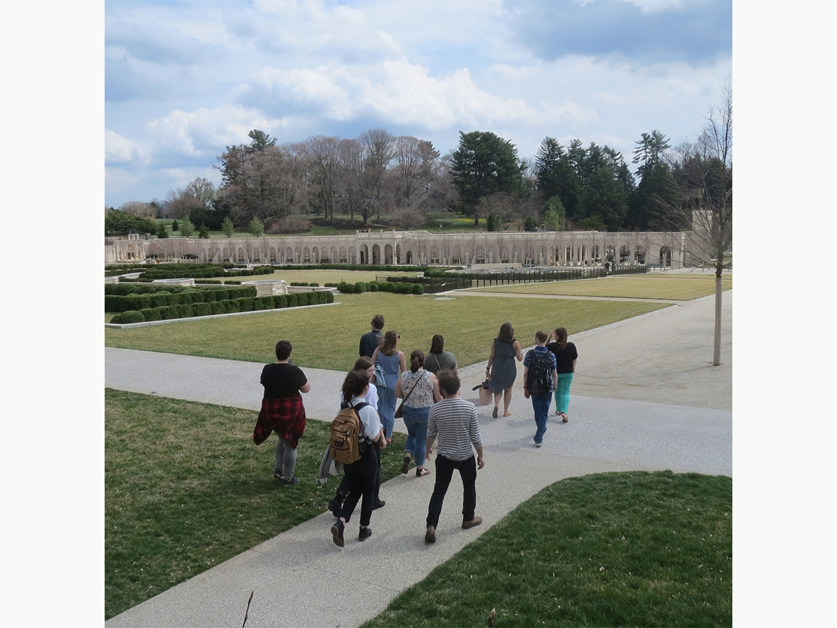 Students walk through the gardens at Longwood Gardens.