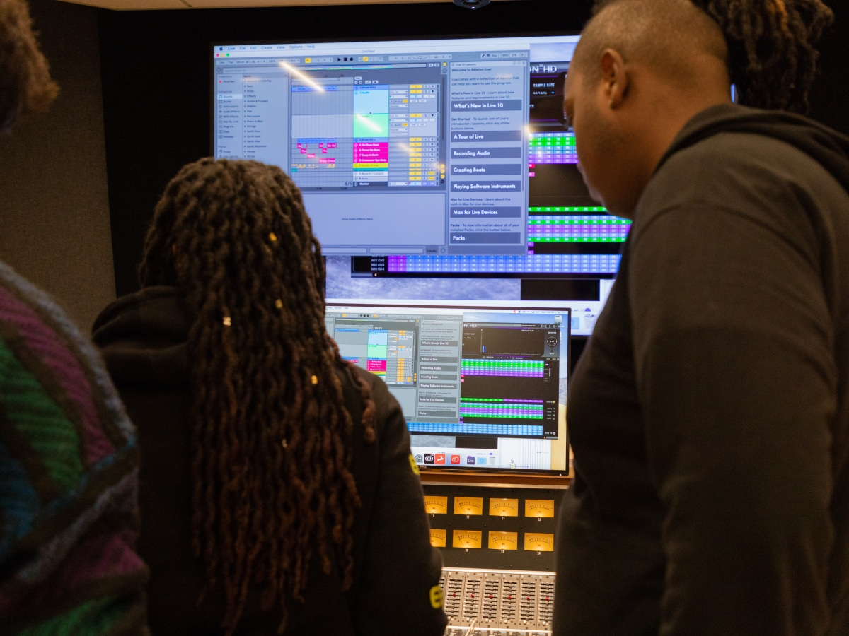 Faculty and students mix music live in the Laurie Wagman Recording Studios