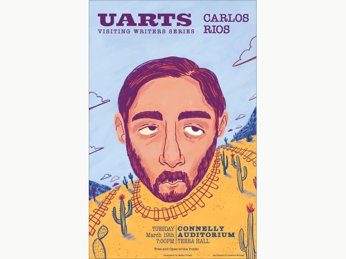 An illustration of Carlos Rios for the Visiting Writers Series made by Melita Tirado BFA '19