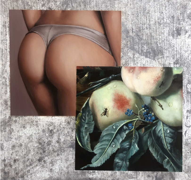 A painting by Meredith Sellers of peaches and a woman wearing underwear