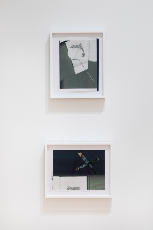 two collages by Nyeema Morgan hang in white frames on a white wall. The one on top is portrait oriented and the one below is landscape oriented.The collages are comprised of abstracted compositions made from greyscale xeroxed pages from books, with some text fragments visible.