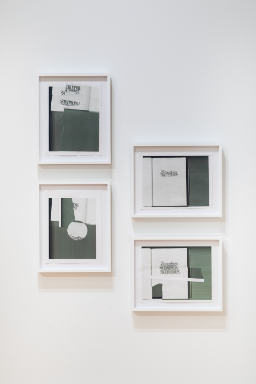 four collages by Nyeema Morgan hang in white frames on a white wall. The two collages on the left are portrait oriented and the two on the right are landscape oriented. The collages are comprised of abstract compositions made from greyscale xeroxed pages from books, with some text fragments visible.