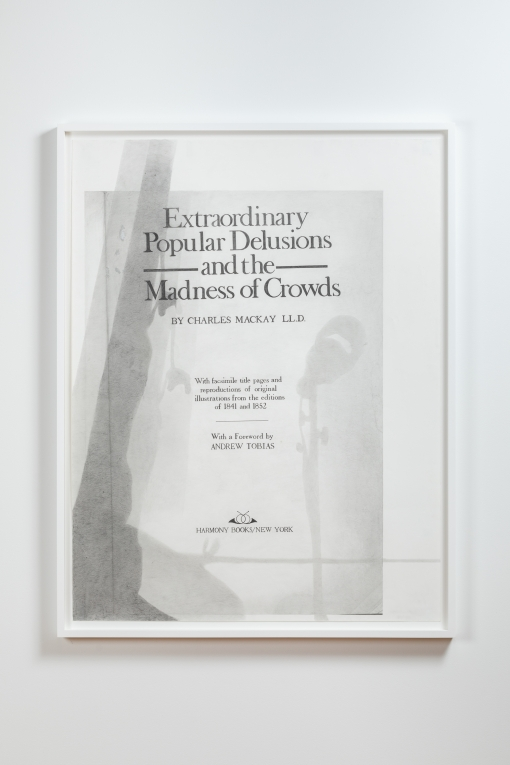 A framed graphite drawing by Nyeema Morgan depicting the title page of a book titled Extraordinary Popular Delusions and the Madness of Crowds. An area along the left side of the drawing depicts a darker shadowed area with other lighter shadows on the right of the drawing.