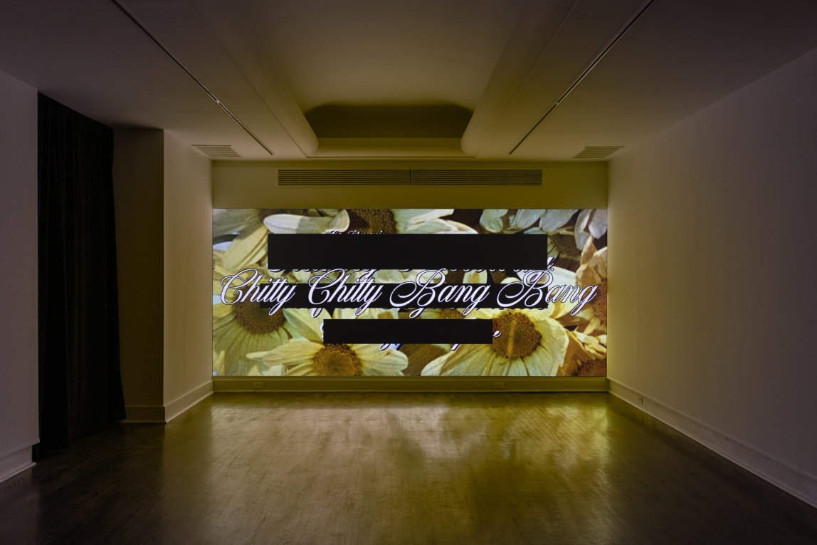 an installation view of a digital work by Abbey Williams is projected across the back wall of a gallery. The projected image shows a close up of white flowers with yellow centers. The lighting in the video makes parts of the flowers appear to have a yellow tint. Solid black bars and the words Chitty Chitty Bang Bang appear in script front across the image.