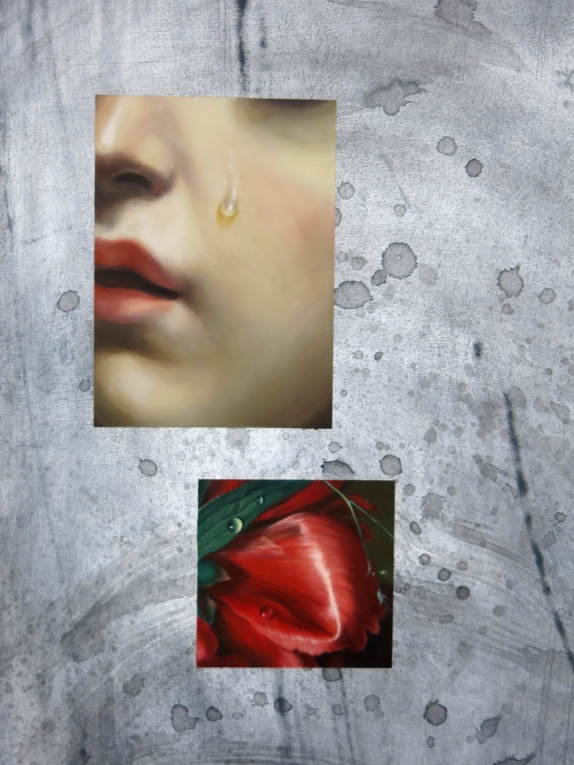 """""""Roses Fall But Thorns Remain"""" (detail), 2021 Oil and ink on panel 50 x 88 inches Image courtesy of the artist"""