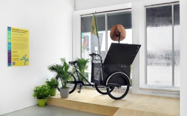 Stationary tricycle in the window of Locust Projects gallery in Miami