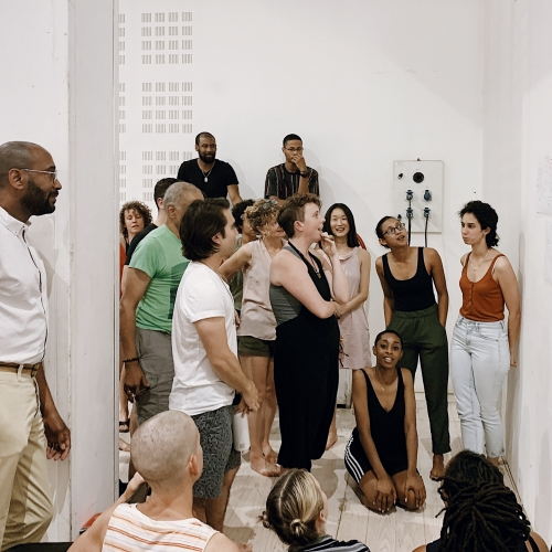 Image of MFA Dance students in a gallery setting