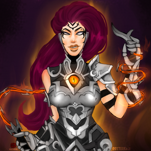 an animated female character in armor.