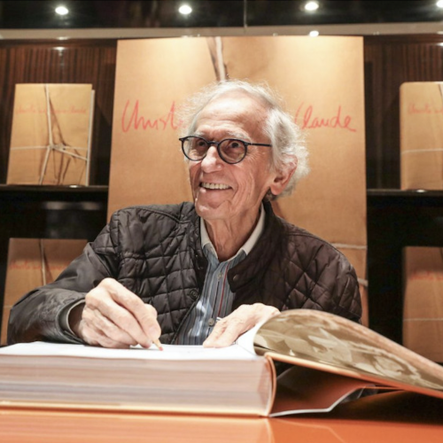 The artist Christo at a book signing in Paris