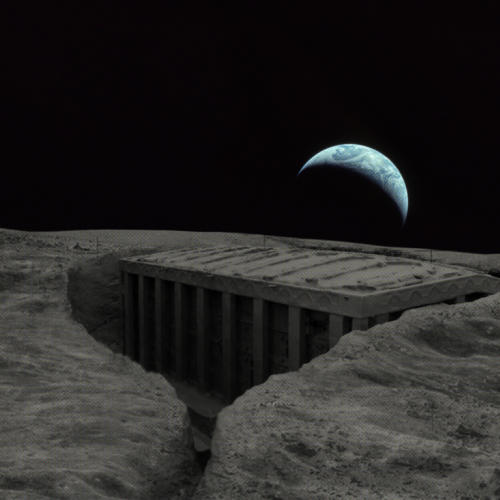 A digital image of an ancient Ethiopian structure on the moon.
