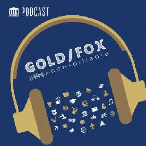 Logo for the Gold/Fox podcast - a pair of gold headphones on a blue background