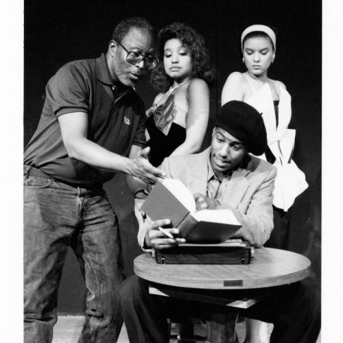 "Dallas is pictured here at a rehearsal for James Baldwin's ""The Welcome Table"" at UArts in 1990."