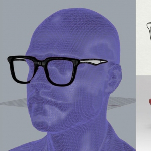 A 3d rendering of red glasses on a purple figure