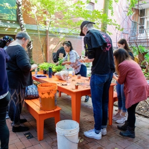 Students, staff and faculty plant together during UArts day