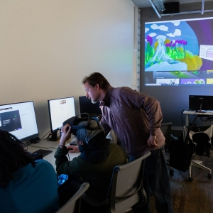 Professor Erik Van Horn teaches students in his Art Making in VR class.