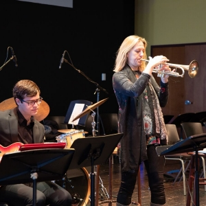Ingrid Jensen performs during her masterclass