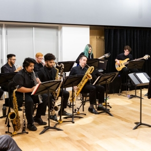 Z Big Band performs at the opening of the Laurie Wagman recording studios.