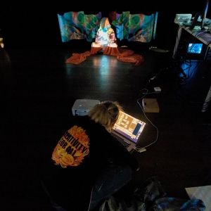 Miwa Matreyek, CIM's first artist in residence, teaches students in her collaborative Projection, Body and Storytelling course.