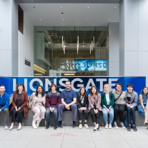 Students and faculty pose in front of Lionsgate Entertainment in Los Angeles, CA.