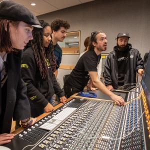 Students and faculty mix music live in the Laurie Wagman Recording Studios