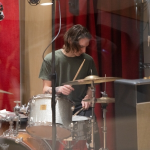A drummer recording in the Laurie Wagman Recording Studios