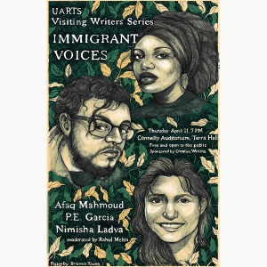 An illustration of Afaq Mahmoud, P.E. Garcia, and Nimisha Ladva for the Visiting Writers Series made by Brianna Young BFA '19