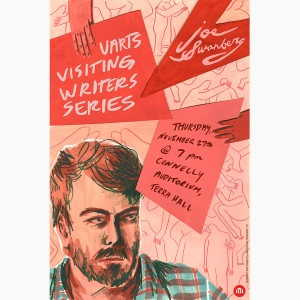 An illustration of Joe Swanberg for the Visiting Writers Series made by Julia Barnes BFA '19