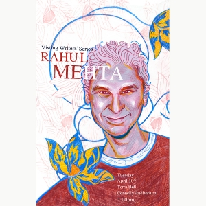 An illustration of Rahul Mehta for the Visiting Writers Series made by Noa Denmon BFA '18