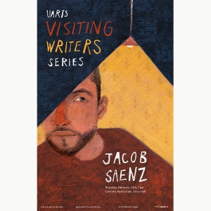 An illustration of Jacob Saenz for the Visiting Writers Series made by Tilda Rose Sladek BFA '19